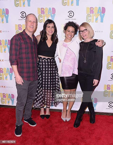 Coexecutive producer Eric Slovin actress/writer Abbi Jacobson actress/writer Ilana Glazer and actress Amy Ryan attend The Broad City Season 2...
