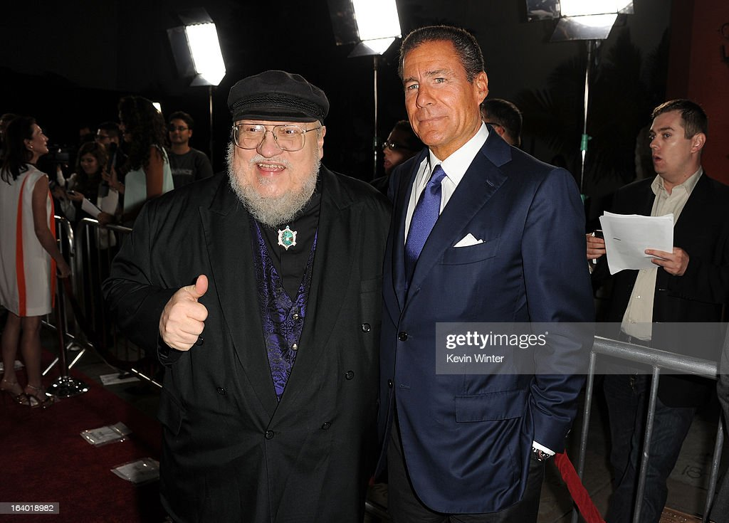 Co-Executive Producer George R. R. Martin (L) and CEO, HBO <a gi-track='captionPersonalityLinkClicked' href=/galleries/search?phrase=Richard+Plepler&family=editorial&specificpeople=584118 ng-click='$event.stopPropagation()'>Richard Plepler</a> arrive at the premiere of HBO's 'Game Of Thrones' Season 3 at TCL Chinese Theatre on March 18, 2013 in Hollywood, California.