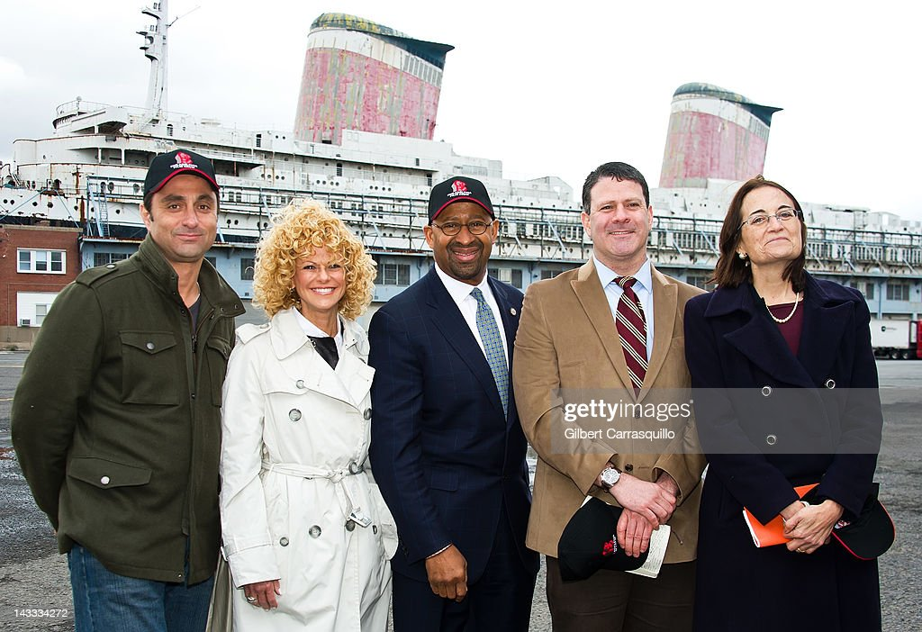 Co-Executive Producer Joseph Zolfo, GPFO Executive Director, Sharon Pinkenson, Philadelphia Mayor, Michael A. Nutter, SSUS Redevelopment Project, Dan McSweeney and SS United States Conservancy, Susan Gibbs attend the 'Dead Man Down' film production press conference on location at the historic SS United States at Pier 82 on April 23, 2012 in Philadelphia, Pennsylvania.