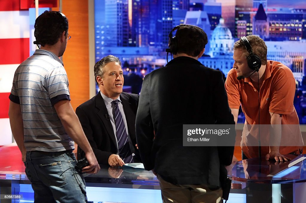 Co-executive producer Rory Albanese, host <a gi-track='captionPersonalityLinkClicked' href=/galleries/search?phrase=Jon+Stewart+-+Political+Satirist&family=editorial&specificpeople=202151 ng-click='$event.stopPropagation()'>Jon Stewart</a>, co-executive producer Josh Lieb and executive producer DJ Javerbaum, of Comedy Central's 'The Daily Show with <a gi-track='captionPersonalityLinkClicked' href=/galleries/search?phrase=Jon+Stewart+-+Political+Satirist&family=editorial&specificpeople=202151 ng-click='$event.stopPropagation()'>Jon Stewart</a>' talk during a commercial break while taping 'The Daily Show with <a gi-track='captionPersonalityLinkClicked' href=/galleries/search?phrase=Jon+Stewart+-+Political+Satirist&family=editorial&specificpeople=202151 ng-click='$event.stopPropagation()'>Jon Stewart</a>: Restoring Honor & Dignity to the White House' at the McNally Smith College of Music September 5, 2008 in St. Paul, Minnesota. The show is being taped in St. Paul during the week of the Republican National Convention.