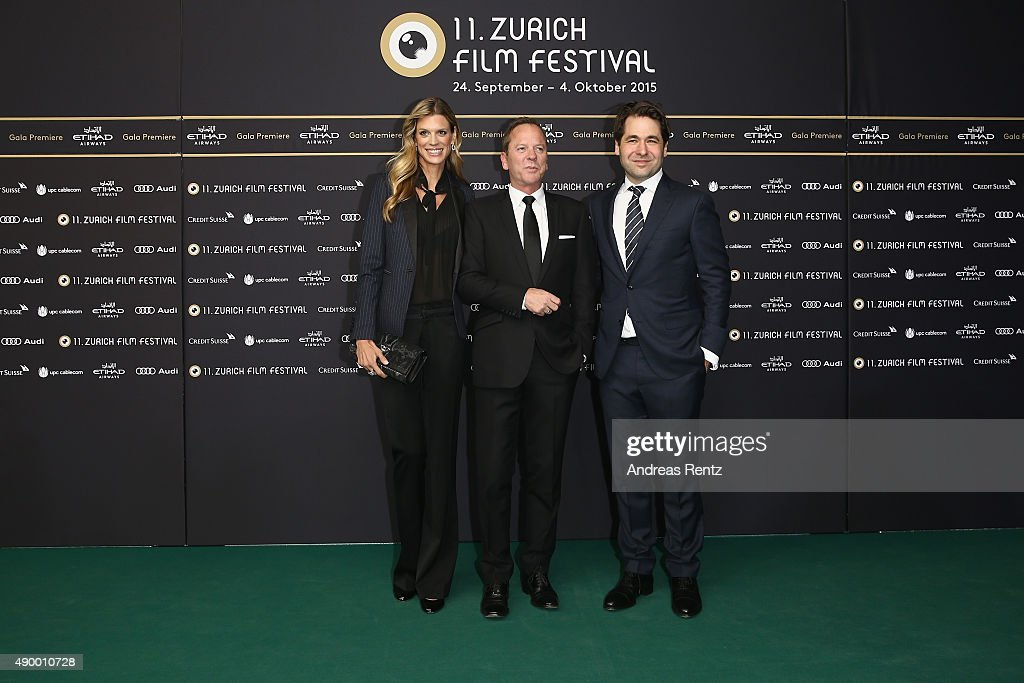 Co-Festival director Nadja Schildknecht, actor Kiefer Sutherland and co-festival director Karl Spoerri attend the 'High-Rise' Premiere during the Zurich Film Festival on September 25, 2015 in Zurich, Switzerland. The 11th Zurich Film Festival will take place from September 23 until October 4.