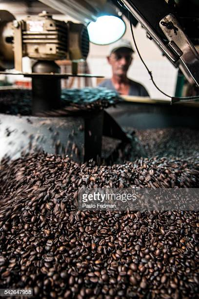 Coffe beans are rosted at Café Primavera Itapira Brazil on Monday February 10TH