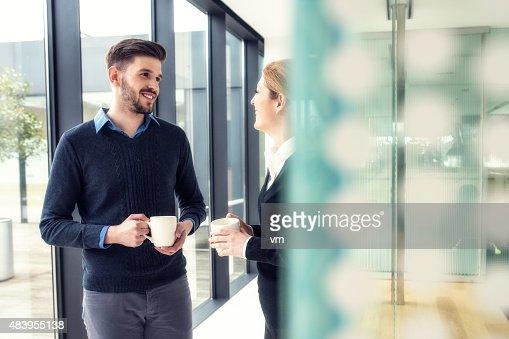 Coffe break at the office corridor