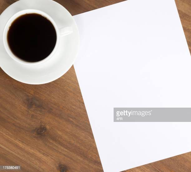 Coffee and Blank Paper Copy Space on Desk