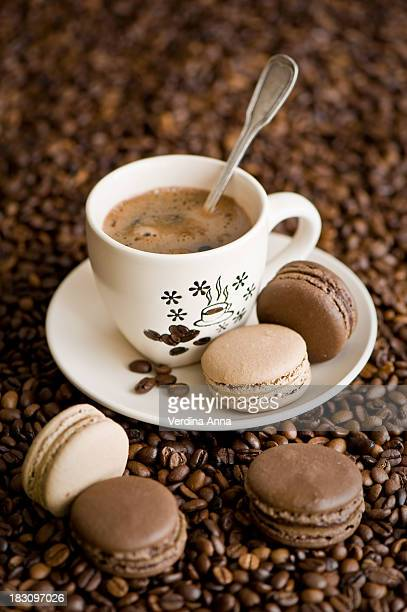Coffee and chocolate & caramel macaroons