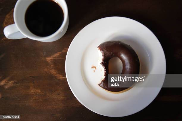 Coffee and chocolate doughnut