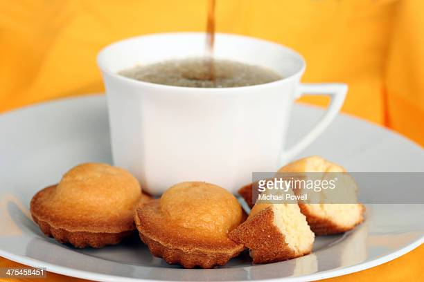 Coffee and French madeleine cakes.