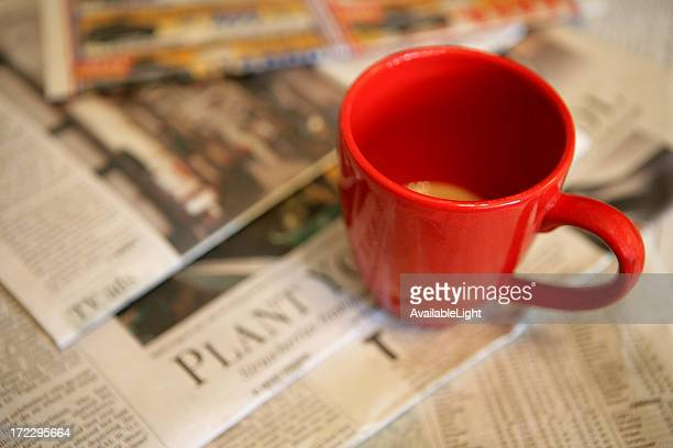 Coffee and newspaper in the morning