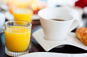 Fresh coffee and orange juice served for breakfast