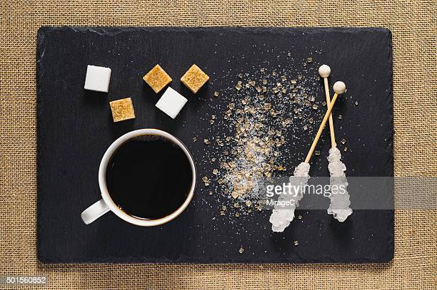 Coffee and Sugar on Rustic Stone Tray