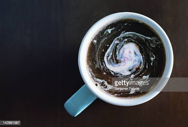 Coffee and swirling cream