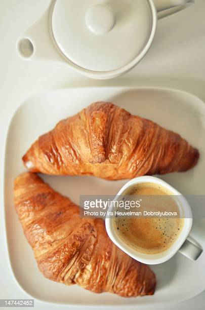 Coffee and two croissants for breakfast