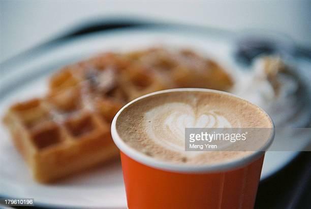 Coffee and waffle