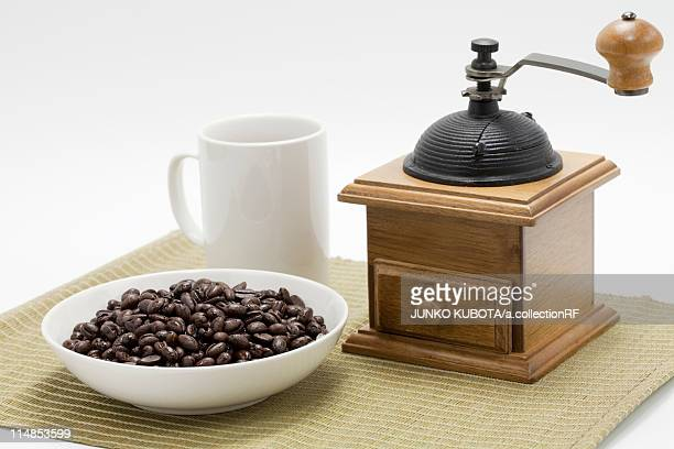 Coffee beans and coffee grinder