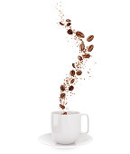 Coffee beans and coffee powder Fly out of a white cup, 3d illustration isolated on white