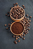 Coffee beans and ground coffee in a wooden bowl on a dark background
