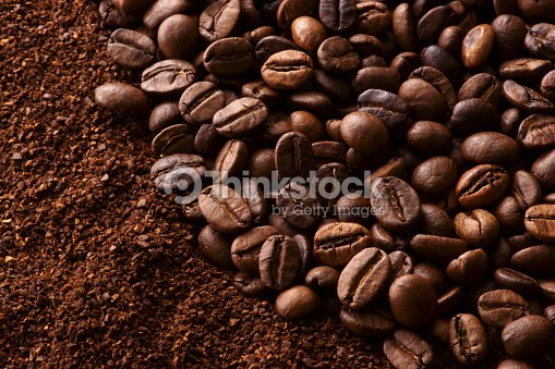 Coffee Beans And Ground Coffee Stock Photo | Thinkstock on coffee bean, green tea, rock house on the grounds, green tea grounds, soft drink, instant coffee, black grounds, french press for grounds, espresso grounds,