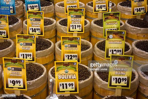 Coffee beans at the Fairway supermarket on the Kips Bay neighborhood of New York on its official grand opening day Friday February 1 2013 A recent...