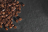 Coffee beans with stone ground