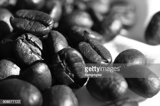 Coffee beans in black and white : Stock Photo