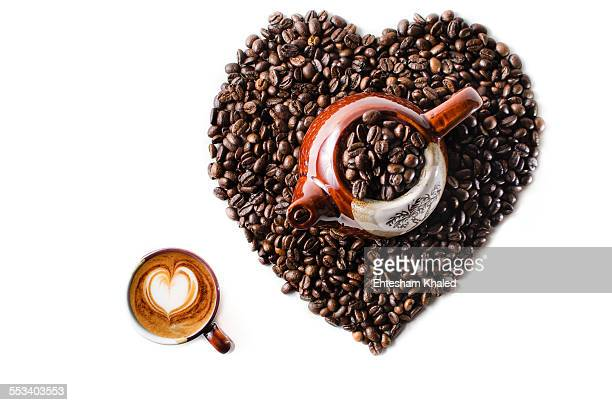 Coffee beans in the shape of a big heart