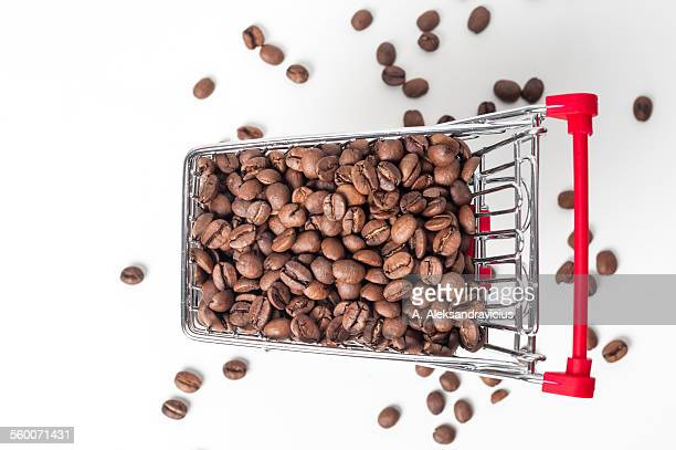 Coffee beans in the shopping trolley