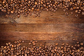 coffee  beans on rustic oak background