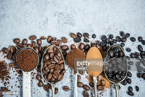 coffee beans roasted,instant and grinded coffee : Stock Photo