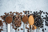 coffee beans roasted,instant and grinded coffee, background with copy space