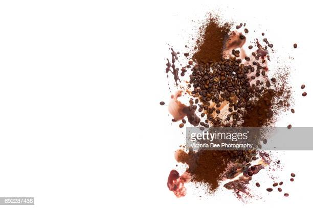 Coffee Beans. Top view. Creative food shot with watercolor.