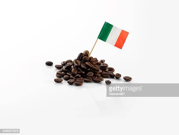 Coffee beans with Italian flag
