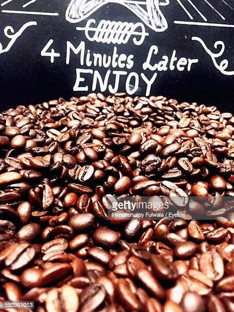 Coffee Beans With Sign At Store