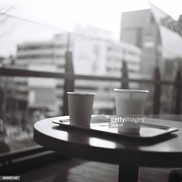 Coffee break in Omotesando - black & white