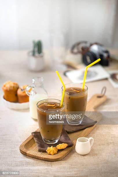 Coffee break time table top shot.
