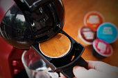 Coffee capsule for home espresso maker machine