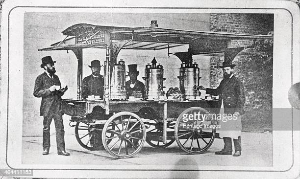 Coffee cart to encourage temperance 1876 Henry Isaac Rowntree on extreme left Joseph Rowntree 2nd on left