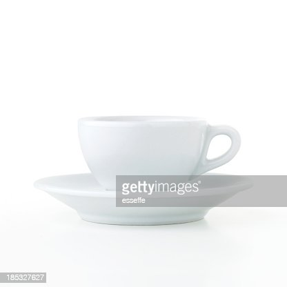 Coffee cup and saucer isolated on white background