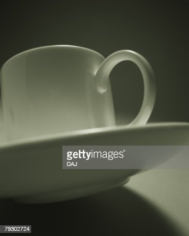 Coffee Cup and Saucer, Low Angle View : Stock Photo