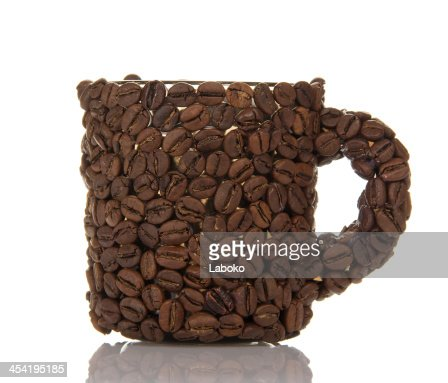 Coffee cup made from beans : Stock Photo