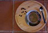 coffee cup on wooden table