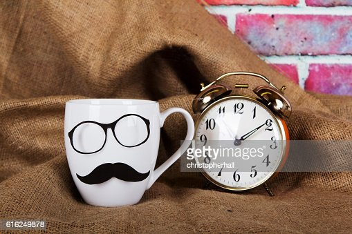 Coffee cup with a black hipster mustache : Foto stock