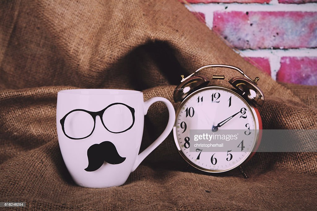 Coffee cup with a black hipster mustache  Vintage Retro : Stock Photo