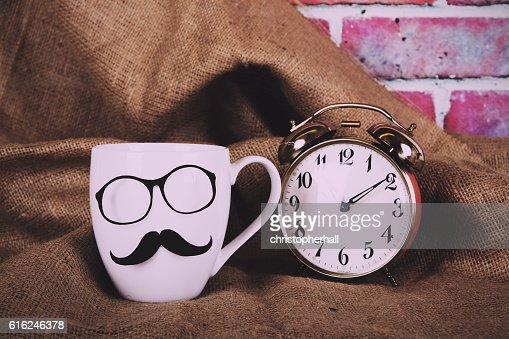 Coffee cup with a black hipster mustache  Vintage Retro : Foto de stock