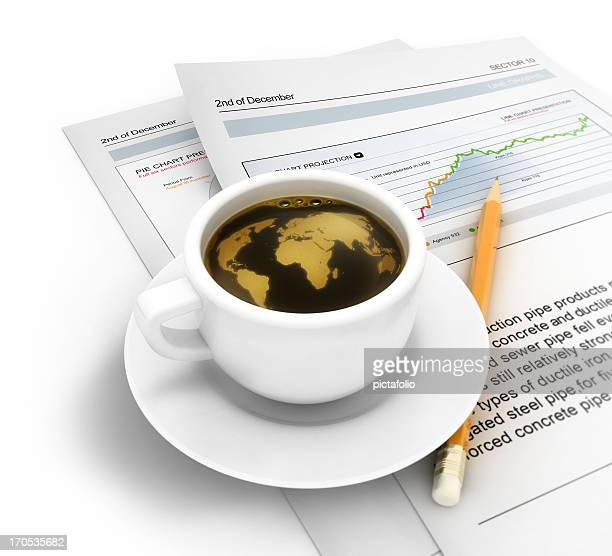 coffee cup with global world map and news