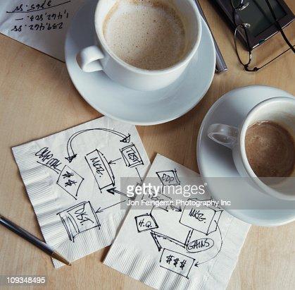 Tazze di caffè e disegni per tovaglioli : Foto stock
