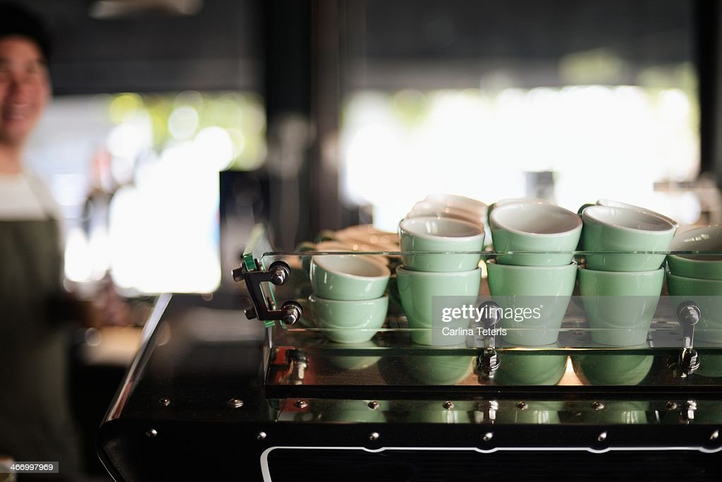 Coffee cups in a cafe : Stock Photo
