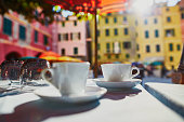 Coffee cups in cafe in Vernazza, Cinque Terre, Liguria, Italy