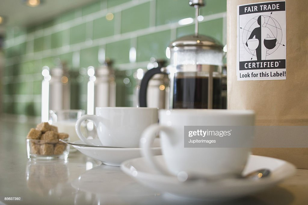 Coffee cups on kitchen counter