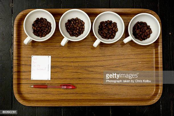 Coffee cups prepared for a Cupping