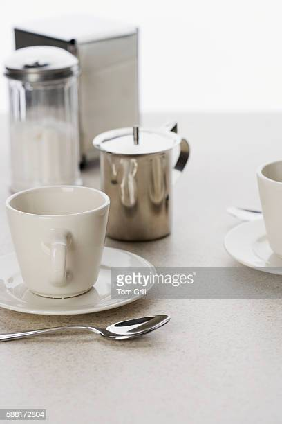 Coffee Cups with Creamer, Sugar Dispenser and Napkin Dispenser